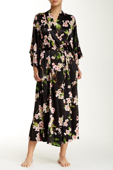 Natori blossom robe black