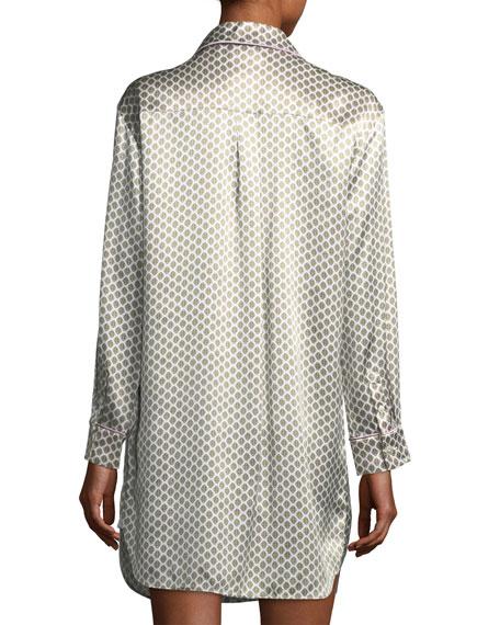 Olivia Von HallePoppy Six Long-Sleeve Silk Sleepshirt back view