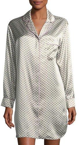 Olivia Von HallePoppy Six Long-Sleeve Silk Sleepshirt