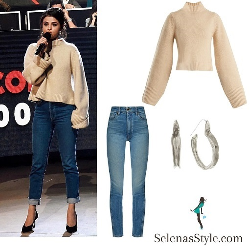 Selena Gomez Beige Sweater For One Voice SOMOS Live Concert U2013 Selena Gomez Style Blog