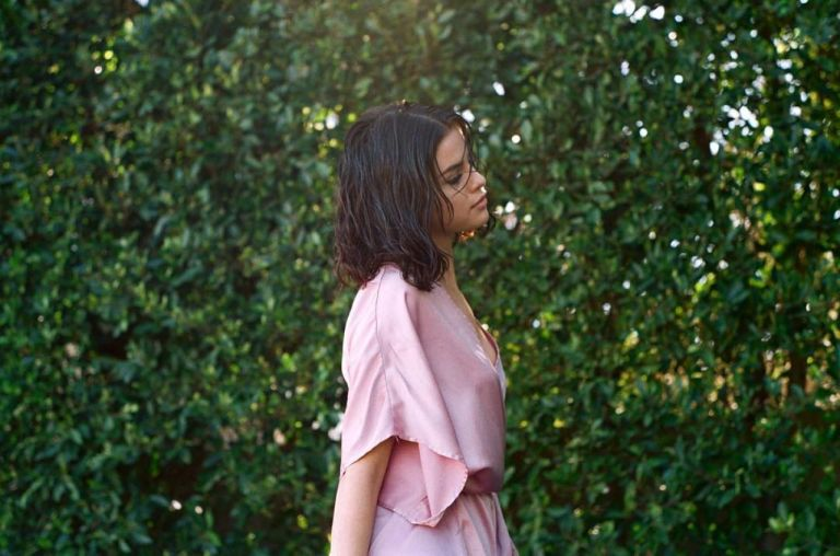 Selena Gomez pink silk robe Wolves video