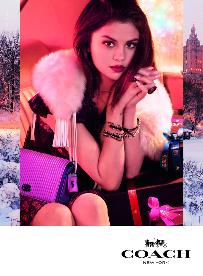 The Coach Holiday campaign featuring Selena Gomez.