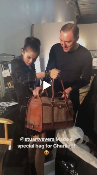 Stuart Vevers gives Selena gomez a Coach bag for her puppy Charlies