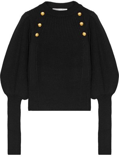 Veronica Beard Jude Embellished Merino Wool Sweater