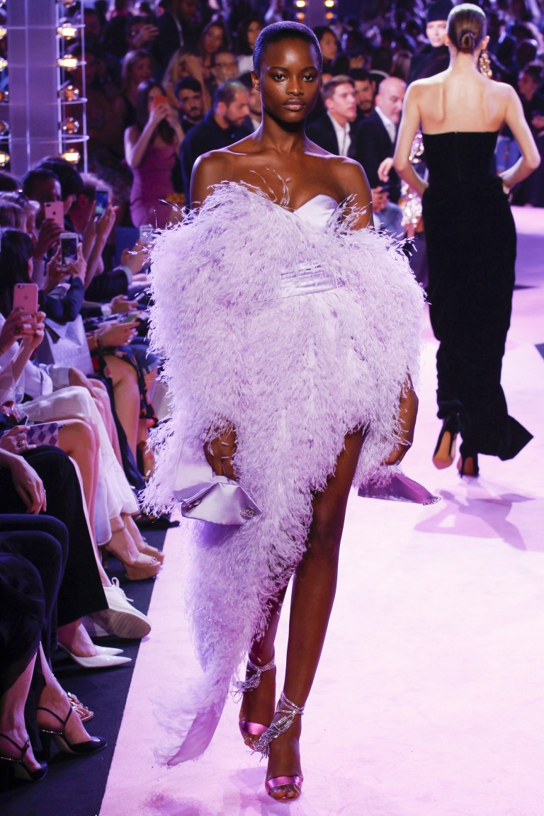 Alexandre Vauthier lilac feather dress Fall 2017
