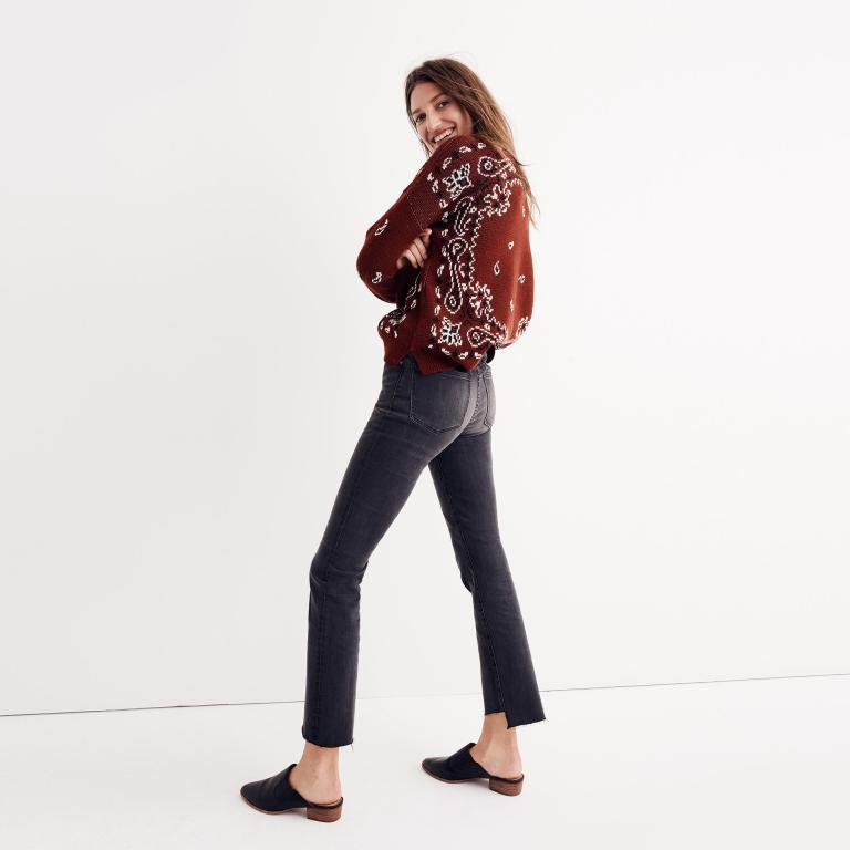 Madewell Cali Demi-Boot Jeans Asymmetrical Hem Edition back view