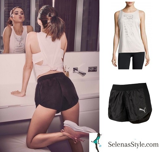 Selena Gomez style Puma white top black shorts