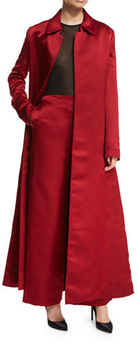 THE ROW Neyton Long Silk Satin Coat