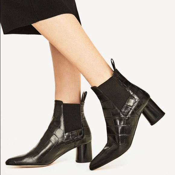 Zara Black Croc Embossed Leather Ankle Boots