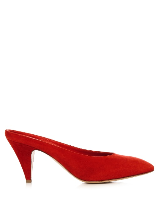 Mansur Gavriel red suede backless pumps