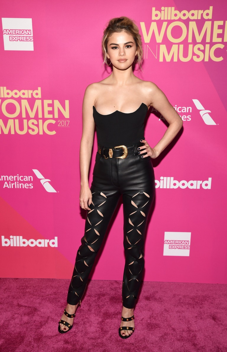 Selena Gomez style black bustier leather pants billboard Women in Music 2017