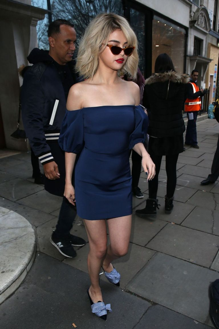 Selena Gomez style blue off the shoulder dress bow shoes London December 2017