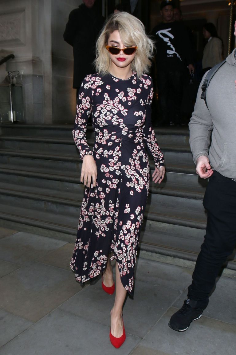 Selena Gomez style floral print dress red shoes London December 2017