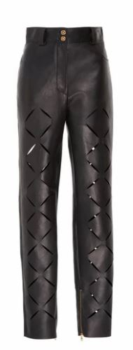 Versace Slashed Cutout Leather Pants