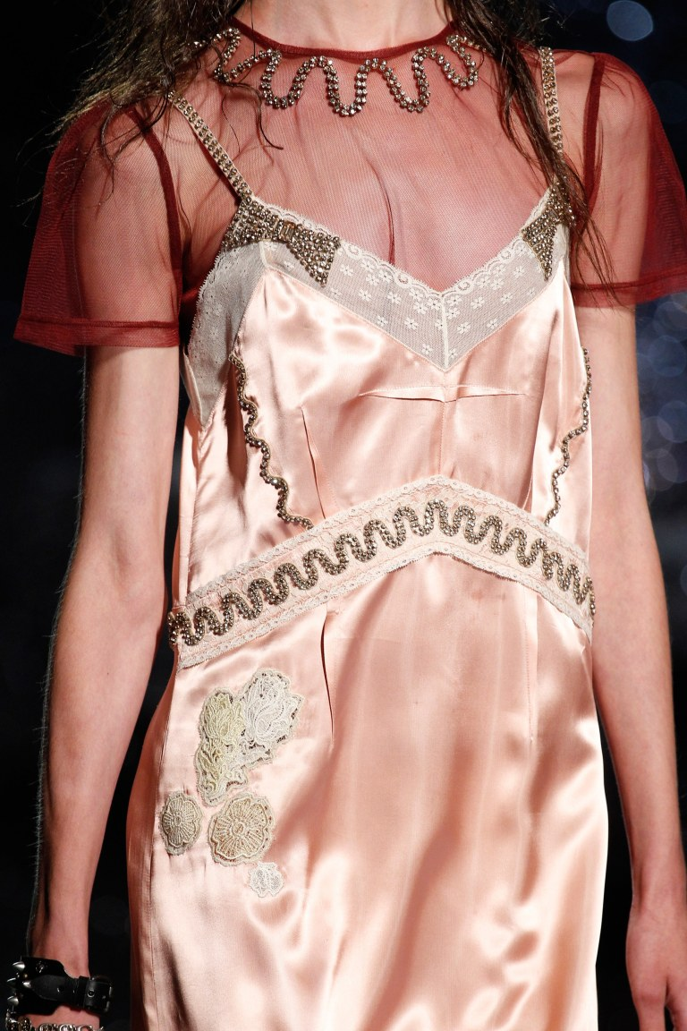 Coach pink satin and lace dress SS 2018 close up photo Edward James