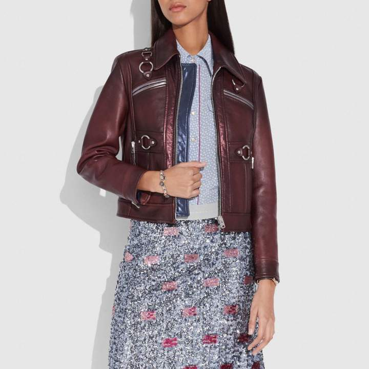 Coach Burnished Leather Coat With Harness Detail