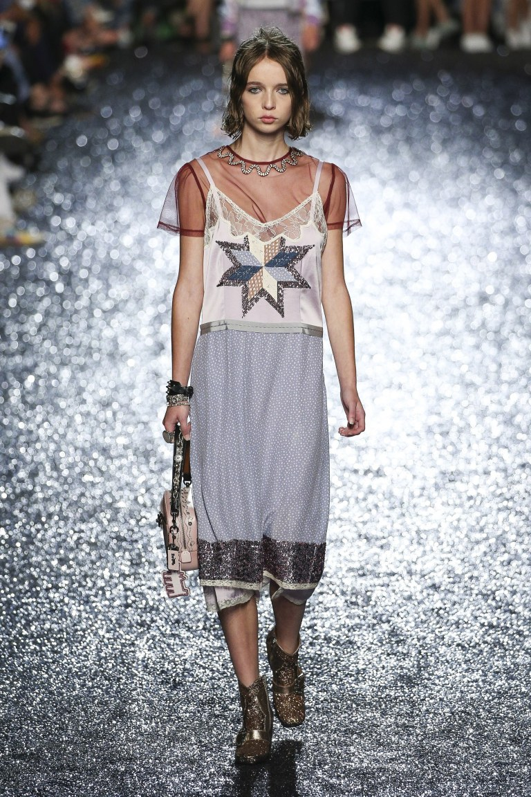 lilac patchwork dress Coach ss 18 photo Edward James