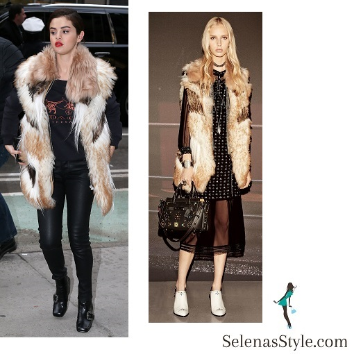 Selena gomez style black Coach t-shirt fur gilet black trousers black boots NY 16 January 2018