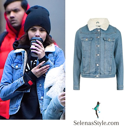 Selena Gomez style black Fairaxs sweatshirt denim jacket with borg collar January 2018