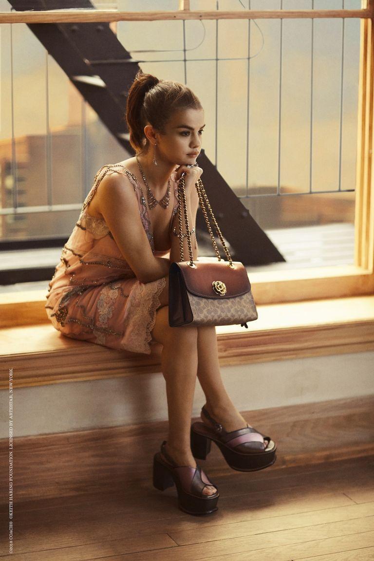 Selena gomez style pink embellished dress chain bag platform sandals Coach SS18