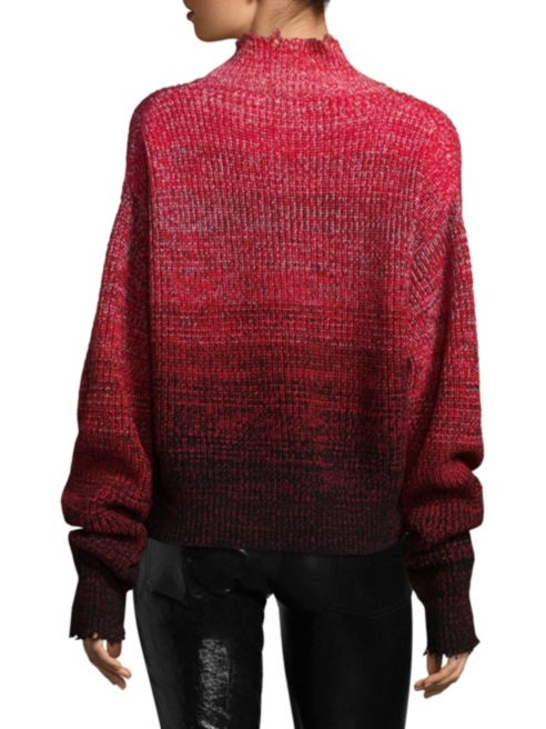 Helmut Lang Distressed Marled Wool Patchwork Sweater back view