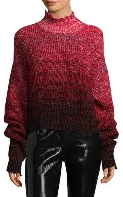 Helmut Lang Distressed Marled Wool Patchwork Sweater