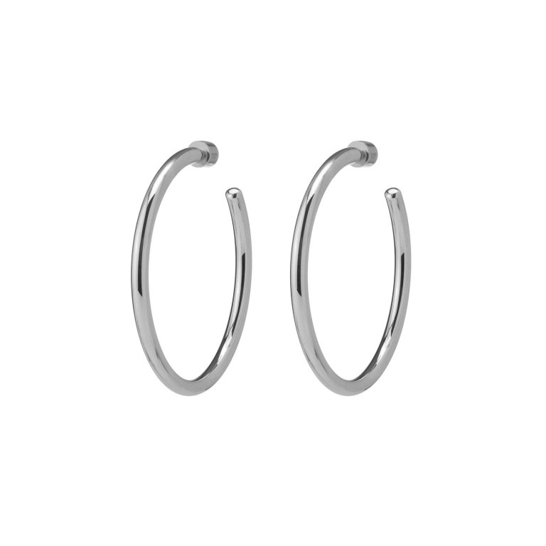 Jennifer Fisher Jewelry Baby Classic Hoops in Plated Silver Rhodium