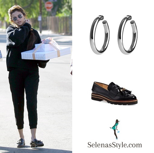 Selena Gomez style black loafers black sweater black sweatpants silver hoop earrings February 2018