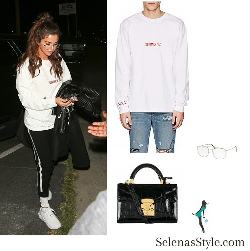Selena Gomez style blog Summer 92 top white trainers black coat sunglasses February 22 2018
