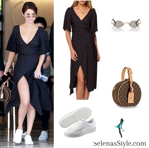 Selena gomez style blue wrap navy floral dress white sneakers LV brown bag February 2018