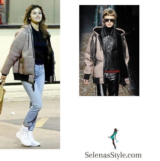 Selena Gomez style clothes fashion brown bomber jacket jeans black top white trainers February 21 2018