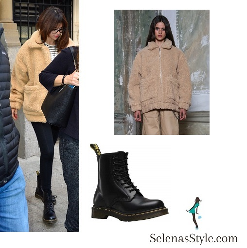 Selena Gomez style clothes outfit beige fleece jacket striped top black boots February 2018