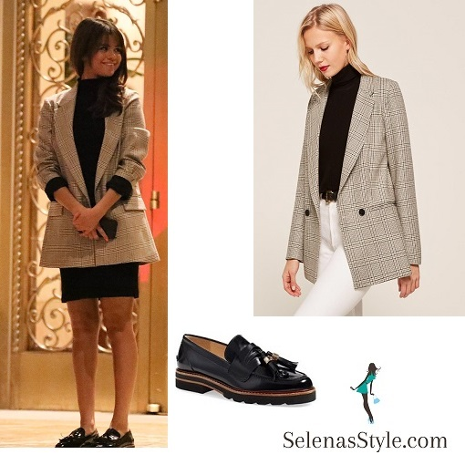 Selena gomez style clothes outfit Justin Bieber Valentines day 2018 check jacket black loafers