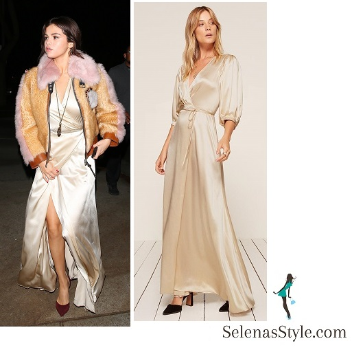 Selena gomez style cream satin maxi dress faux fur jacket burgundy pumps 2 February 2018