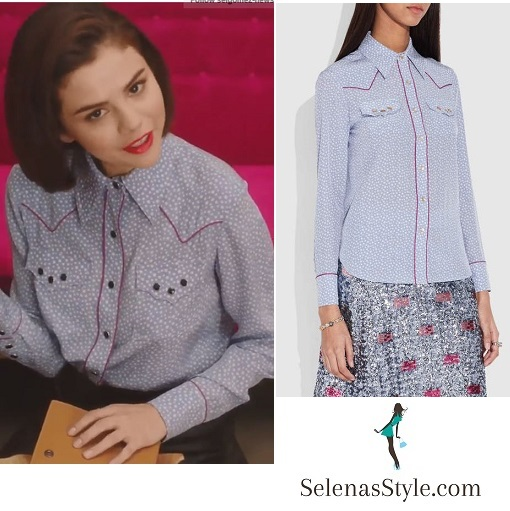 Selena Gomez style fashion clothes blue and white western shirt