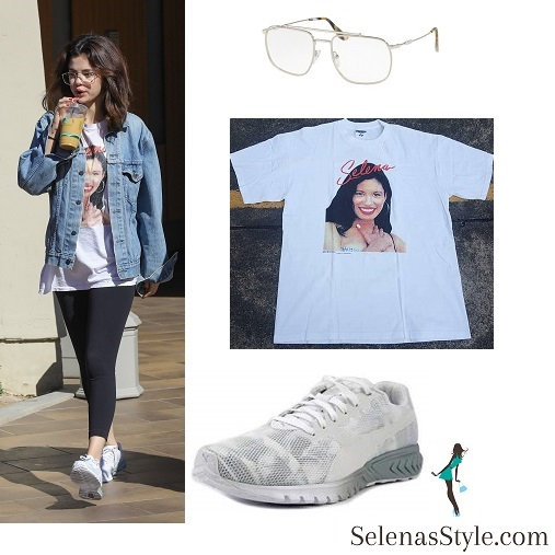 Selena Gomez style fashion clothes denim jacket Selena t-shirt sunglasses white trainers February 2018