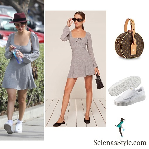 Selena Gomez style grey dress red hat white sneakers brown LV bag February 2018