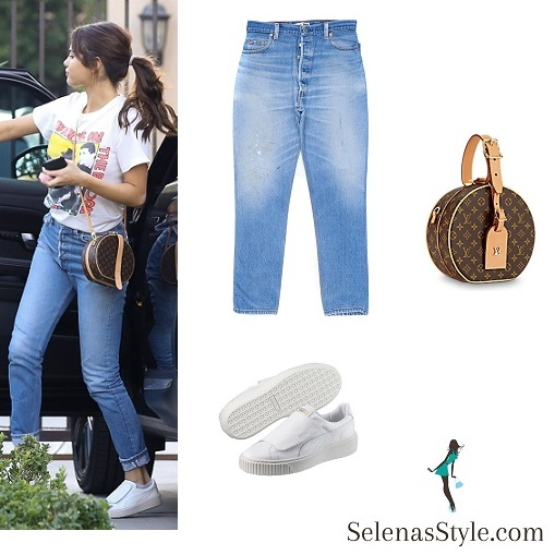 Selena Gomez style New Kis on the Block t-shirt jeans white sneakers Louis Vuitton bag January 2018
