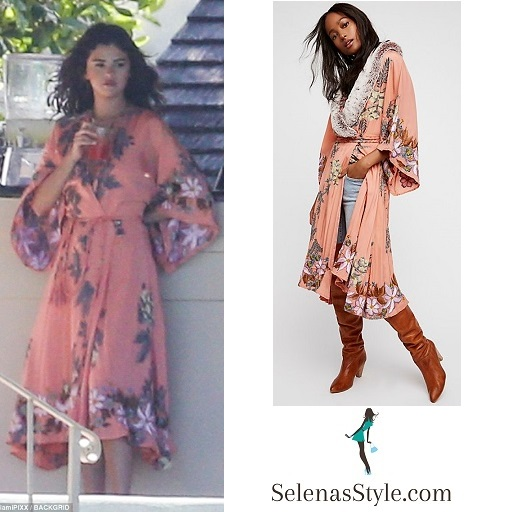 Selena Gomez style peach embroidered wrap dress February 2018