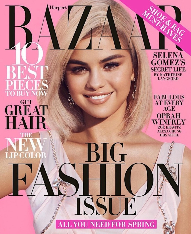 Selena Gomez style pink dress Harpers Bazaar March 2018 issue