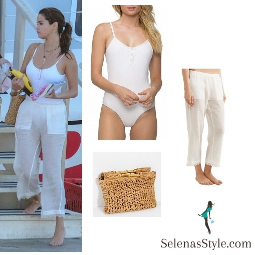 Selena Gomez style white one piece white trousers straw bag Jamaica February 2018