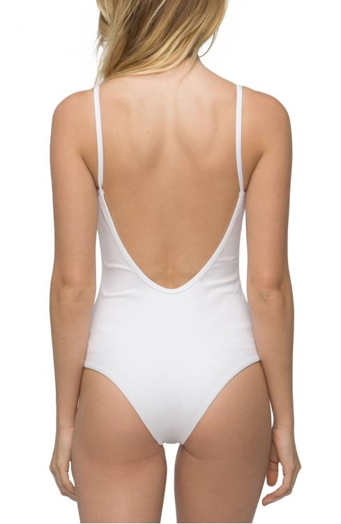 Tavik Lila Ribbed One-Piece Swimsuit back view