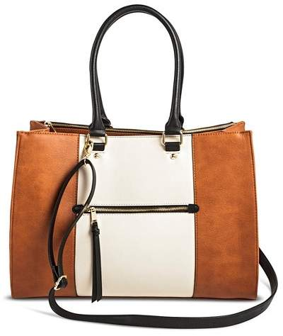 Merona Women's Color Block Tote Faux Leather Handbag with Zip Front Pocket