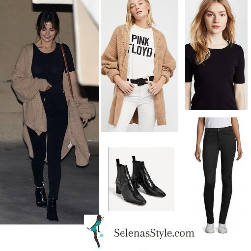 Selena Gomez style clothes outfit black t-shirt black jeans black ankle boots beige oversized cardigan March 2018