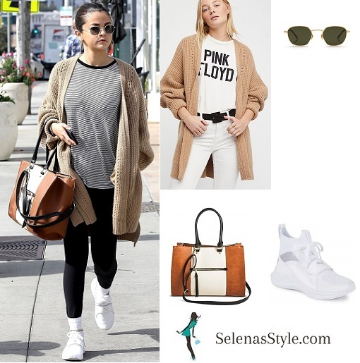 Selena Gomez style clothe outfit blog beige cardigan white sneakers LA  MArch 8 2018 088f5f238