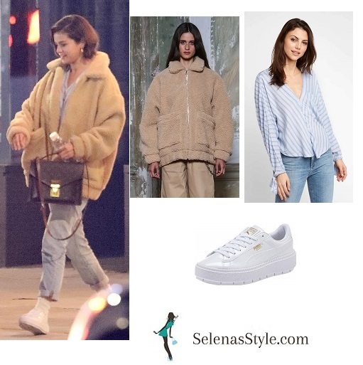 Selena Gomez style clothes outfit blog caramel fleece striped shirt jeans white trainers MArch 2018