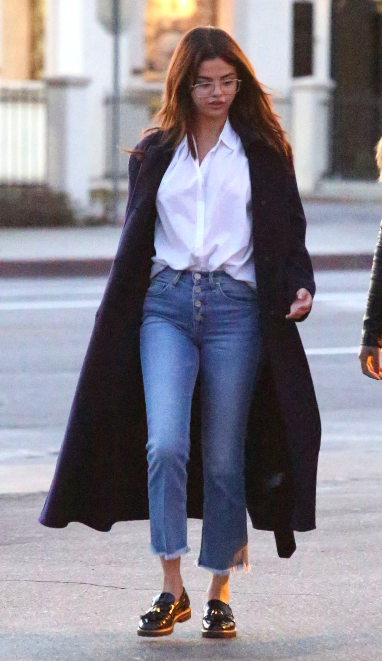 Selena Gomez style clothes outfit blog white shirt blue coat button jeans black loafers February 2018