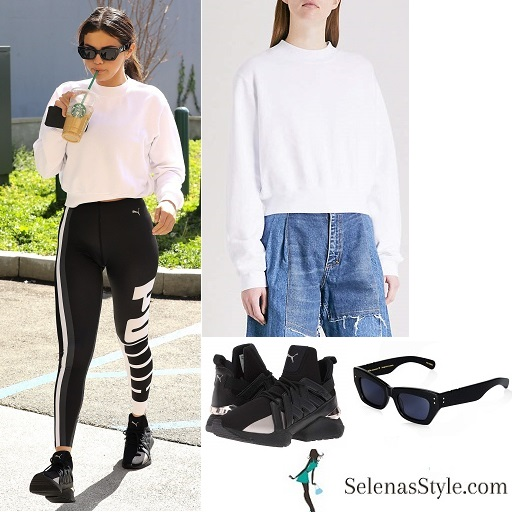 Selena gomez style clothes outfit blog white top black leggings black trainers February 28 2018