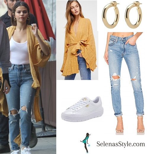 Selena Gomez style clothes outfit blog yellow kimono distressed jeans white sneakers gold hoop earrings March 2018