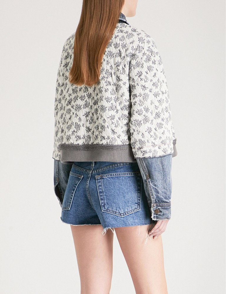 Free People Ditsy floral-print quilted cotton-blend denim jacket back view